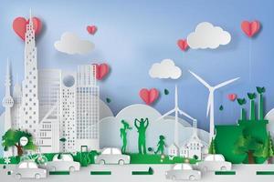 gesneden papier groene stad met eco-elementen vector