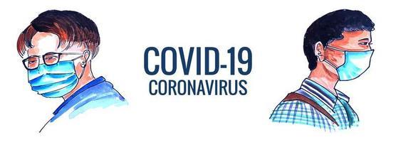 mannen in medisch gezichtsmasker covid-19 bannerontwerp vector