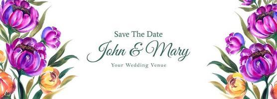 bruiloft behalve de datum paarse en gele banner