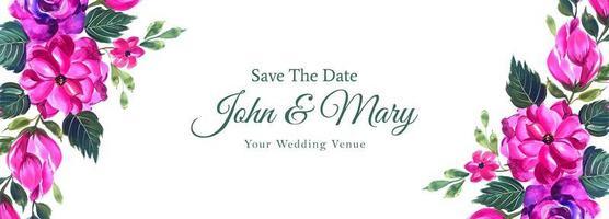 decoratief roze sparen de banner van het datumhuwelijk
