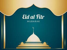 eid al fitr gouden moskeesilhouet