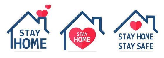 blijf thuis lijn pictogram huis