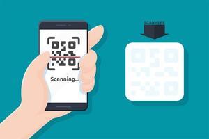 mobiele telefoon scannen qr-code vector