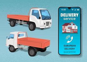 vrachtwagen en telefoon voor levering buiten de stad