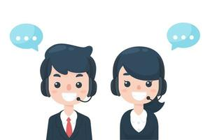 het callcenter van het personeel wacht om klantenproblemen te ontvangen vector
