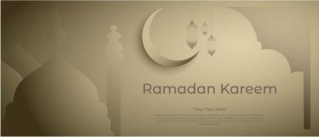ramadan kareem achtergrond met moskee lantaarn en prachtige maan