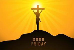 Jezus Christus op kruis tegen gele zonsondergang achtergrond
