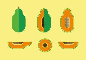 Flat Style Papaya Illustratie Vector