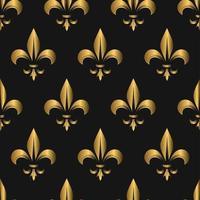 naadloze gouden fleur de lis patroon op zwart vector