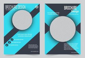 blauwe voorbladsjabloon met cirkel afbeelding ruimte vector
