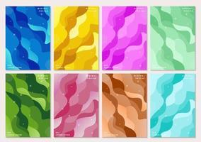 kleurrijke minimale poster set met platte golfvormen