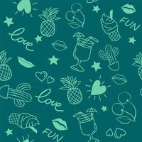 naadloze doodle patroon met zomerelementen