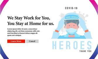 werken medische helden covid-19 bannerontwerp