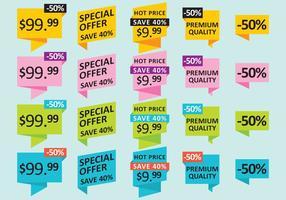 Prijzen en Aanbieding Stickers vector