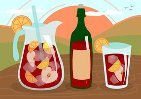 Sangria Wijn Fruit Drank Spanje Vector