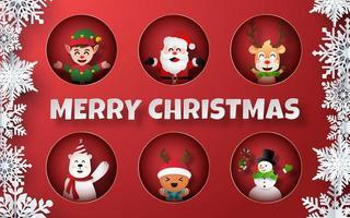 papier kunst van het verzamelen van kerst karakters