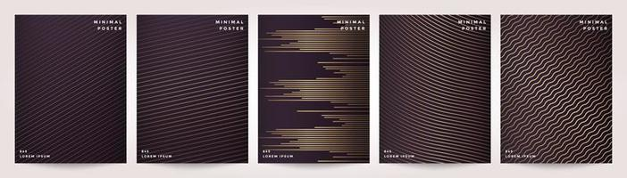 minimale dekking in gouden abstracte lijnpatroon voor poster ontwerpset vector