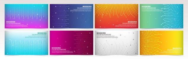 kleurrijke gradiëntbanners met geometrische texturen en abstracte lijnen.