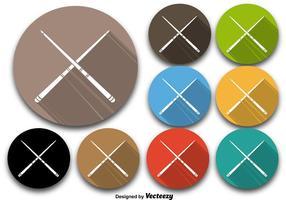 Kleurrijke Pool Sticks Vector Pictogrammen
