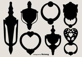 Vector Zwarte Silhouetten Van Deurknockers