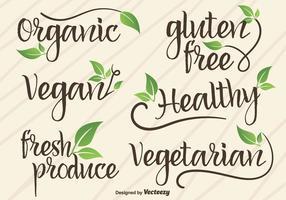 Vector Hand Schriftelijke Tekens / Logotypes Van Vegan En Organisch Voedsel