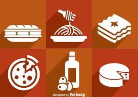 Italiaanse Eten Witte Pictogrammen vector