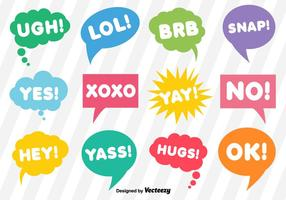 Vector Dialoogbellen Met Korte Uitdrukkingen