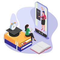 student met behulp van mobiele telefoon online leren met leraar in video-oproep sessie.