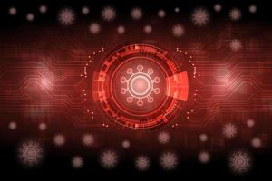 rood gloeiende futuristische virusachtergrond