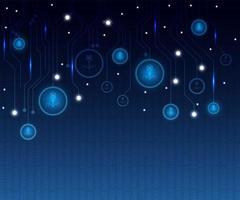 abstracte blauwe technische achtergrond met gloeiende cirkel