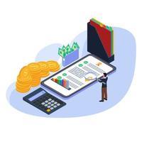 man met vergrootglas om financiële controle te doen