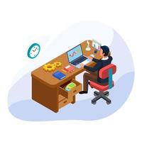 zakenman maken analysegrafiek op laptop