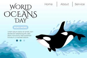 wereld oceaan dag milieu websjabloon vector