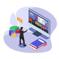 werknemer computer gebruikt voor collectieve virtuele vergadering en groepsvideoconferentie