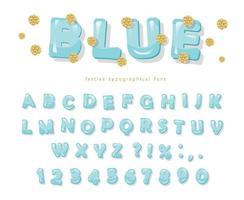 blauw glanzend lettertype met glitter stippen vector