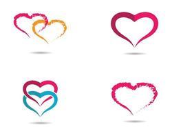 liefde harten in elkaar grijpende logo set