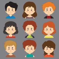 verzameling avatar karakters met verschillende haren en huid