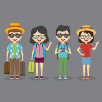 set van 4 toeristische reiskarakters