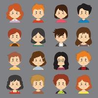 een set van kleurrijke collectie met grote verscheidenheid aan avatars