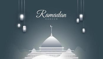 grijze ramadan kareem achtergrond