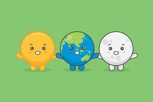 schattige maan, aarde en zon karakters met vrolijke uitdrukking vector