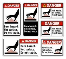 gevaar verbrandingsgevaren en borden met hete oppervlakken vector