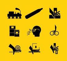 vereiste symbolen voor persoonlijke beschermingsmiddelen vector