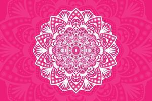 wit bloemenmandalaontwerp op roze vector