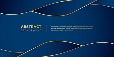 blauwe golfvormen met gouden accenten achtergrond vector