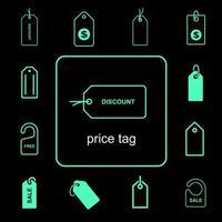eenvoudige prijskaartje pictogramserie vector