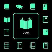 eenvoudige en diverse boekpictogrammen instellen vector