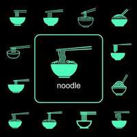wereldwijde voedsel noodle iconen set