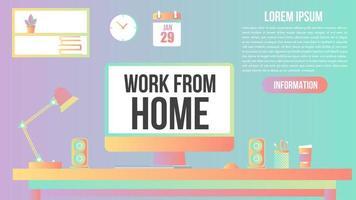 pastel gradiënt plat werk vanuit het kantoor aan huis ontwerp vector