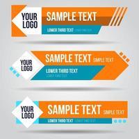 onderste derde oranje en blauwe tv-ontwerpsjabloon ingesteld vector